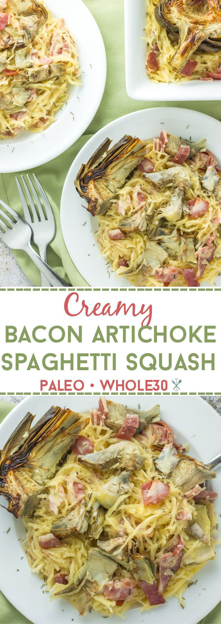 This whole30 and paleo creamy bacon artichoke spaghetti squash is the perfect comfort meal with savory bacon and fresh roasted artichokes from Ocean Mist Farms! Dairy free and gluten free.