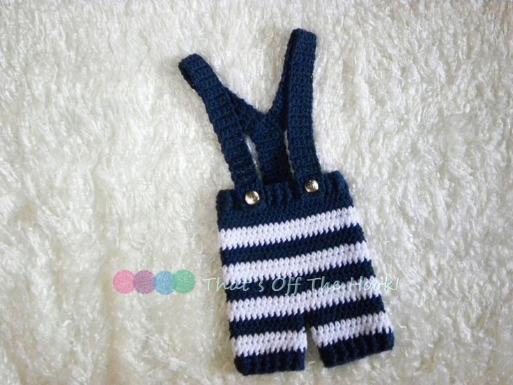 Crochet Nautical photo prop  Striped Short pants with suspenders and anchor buttons