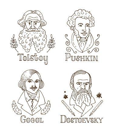 Tolstoy, Pushkin, Gogol, Dostoevsky