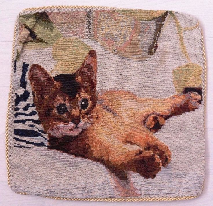 Vintage tapestry cushion cover - Cats - Kittens. Quality gold rope piping. 39cm