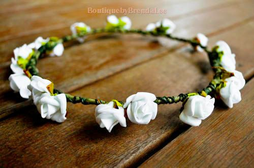 BBBL Simple white mini foam rose head by BoutiquebyBrendaLee