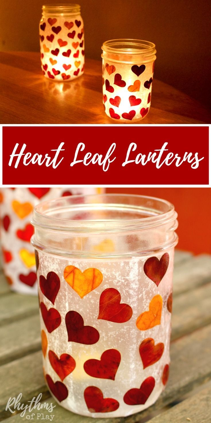 DIY Heart leaf lanterns make beautiful luminaries and an easy gift idea that even kids can make. You can use real fall leaves or tissue paper, and recycled mason jars. They are wonderful centerpieces for both indoor and outdoor use, and would be perfect for an autumn wedding. They can also be filled with treats and a candle and given as gifts for any special occasion!