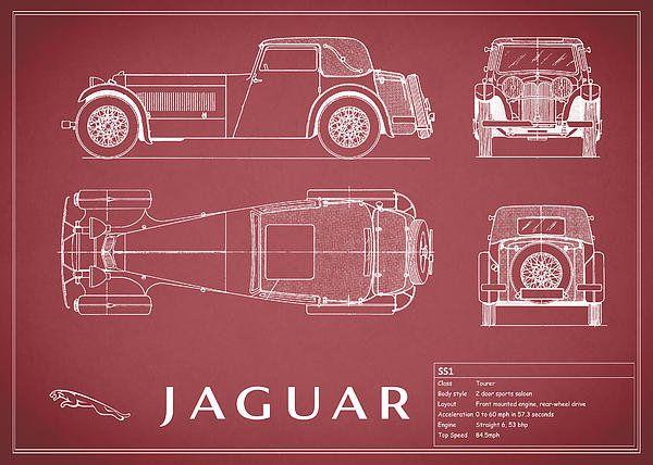 162 best blueprints images on pinterest aeroplanes car sketch jaguar ss1 blueprint print by mark rogan malvernweather Gallery