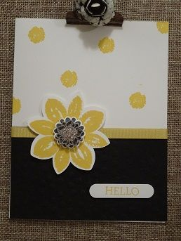 Easy card using the Stampin Up Flower Medallion Punch and Petal Potpourri Stamp Set, sold as a bundle.  Visit www.stamponwithheart.blogspot.com
