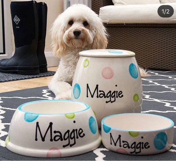 Large Personalised Dog Set Ceramic Dog Bowls Set Personalised Dog Bowl Custom Dog Bowls Dog Treat Jar Dog Food Canister Custom Dog Set Dog Bowls Ceramic Dog Bowl Dog Treat Jar