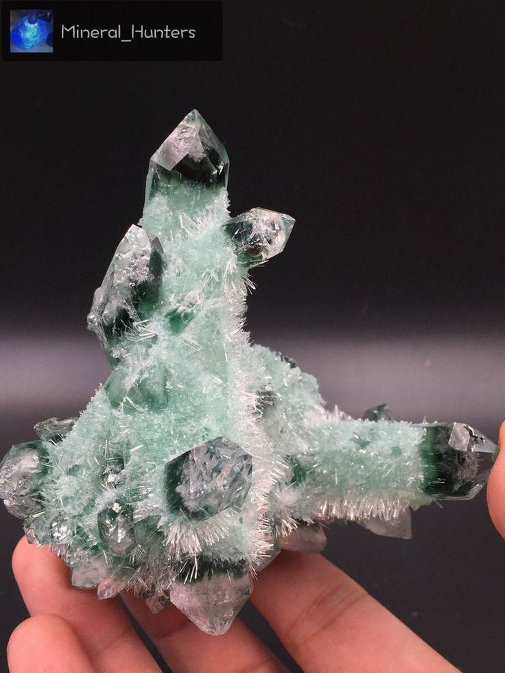 257g Clear and Perfect Green ghost quartz Crystal Cluster mineral specimen*1720