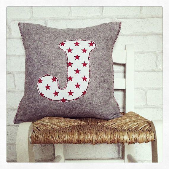 custom applique nursery kids room cushion, grey felt, red star letter appliqued, red stitch detail, cushion pad included