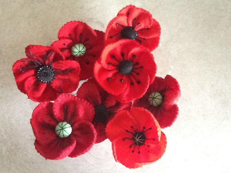 Some of the felt poppies made for the 5000 Poppies a Project to commemorate the 100th anniversary of the Gallipoli landing. Puckapunyal is aiming for 500 by Remembrance Day 2014