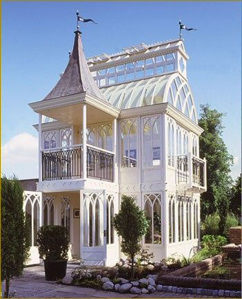 Extravagant Victorian style conservatory-- this would also be pretty but only one level and then the pretty glass roof :)
