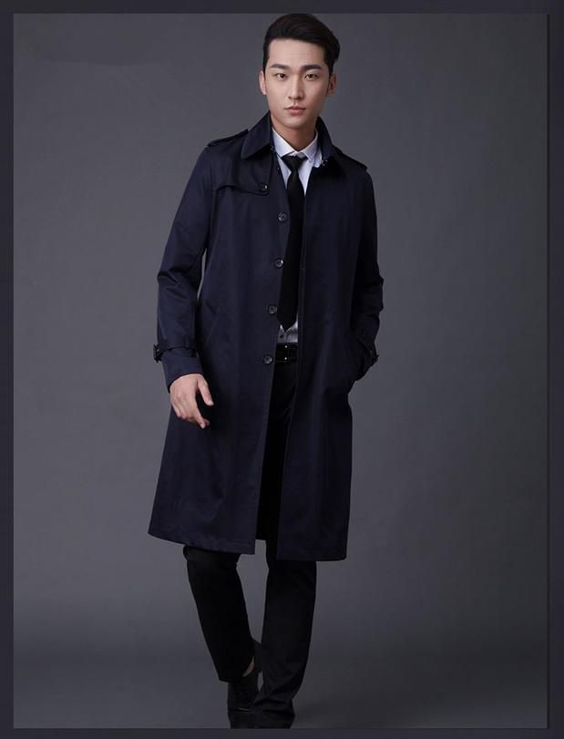 ICYMI: Men's Clothing 2017 Single Breasted Long Trench Coat Male Slim Fit Khaki Coat Tr