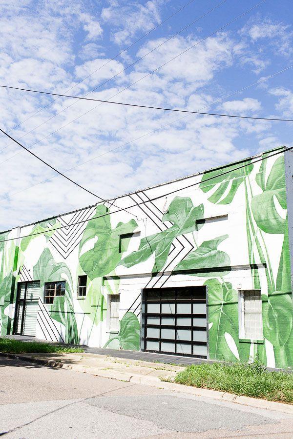 Palm frond mural in Jacksonville, FL