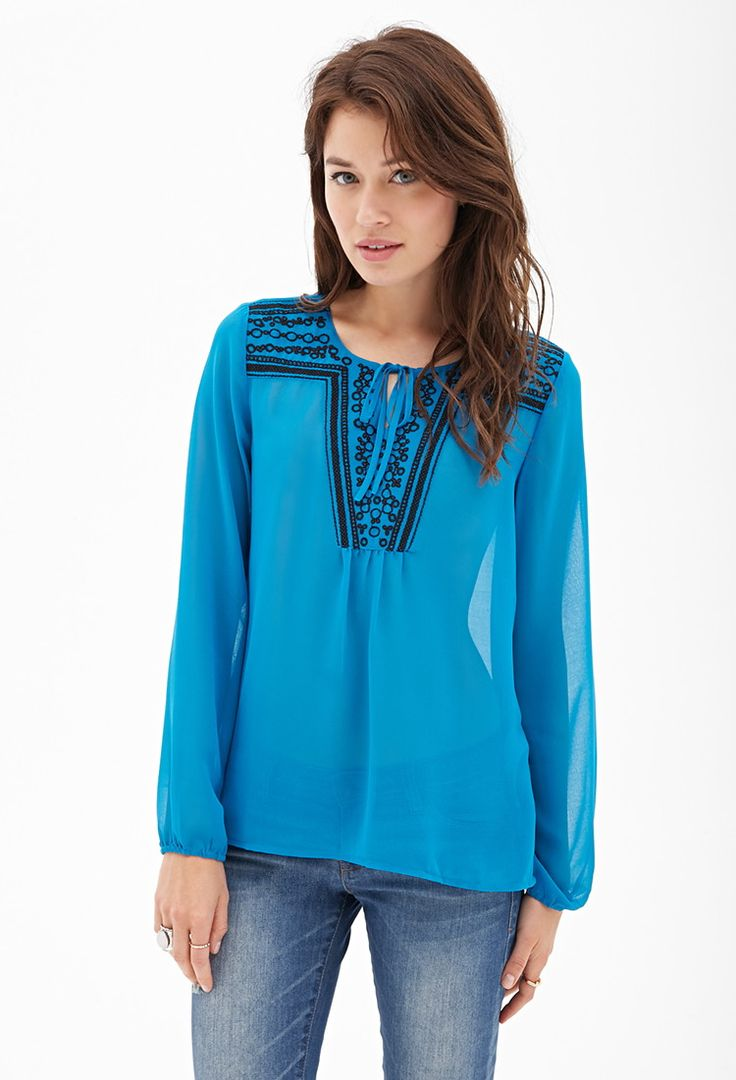 Contemporary Sheer Embroidered Peasant Top