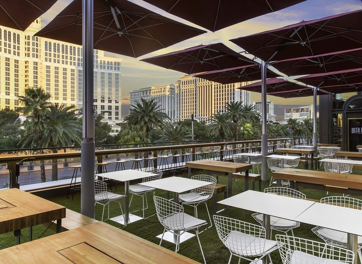 Beer Park  Paris Las Vegas Need a few options? This rooftop beer garden has more than 100 brews to choose from, including nearly 40 on draft. Hang out at one of the picnic tables and enjoy a snack from the roaming food cart or have a little fun with a game of pool or giant-size Jenga. There's even wine and cocktails on tap if beer isn't your thing.