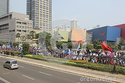 Jakarta, Indonesia, July 12, 2012. Thousands of workers marched in Jakarta to protest against low wages