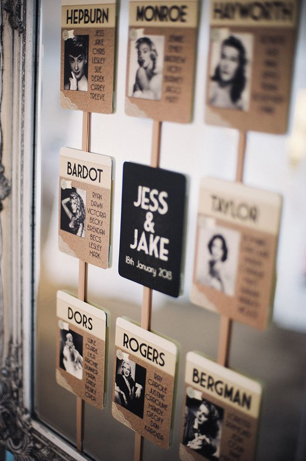 Old Hollywood inspired table plan by In The Treehouse. Photography by www.harreraimages.co.uk