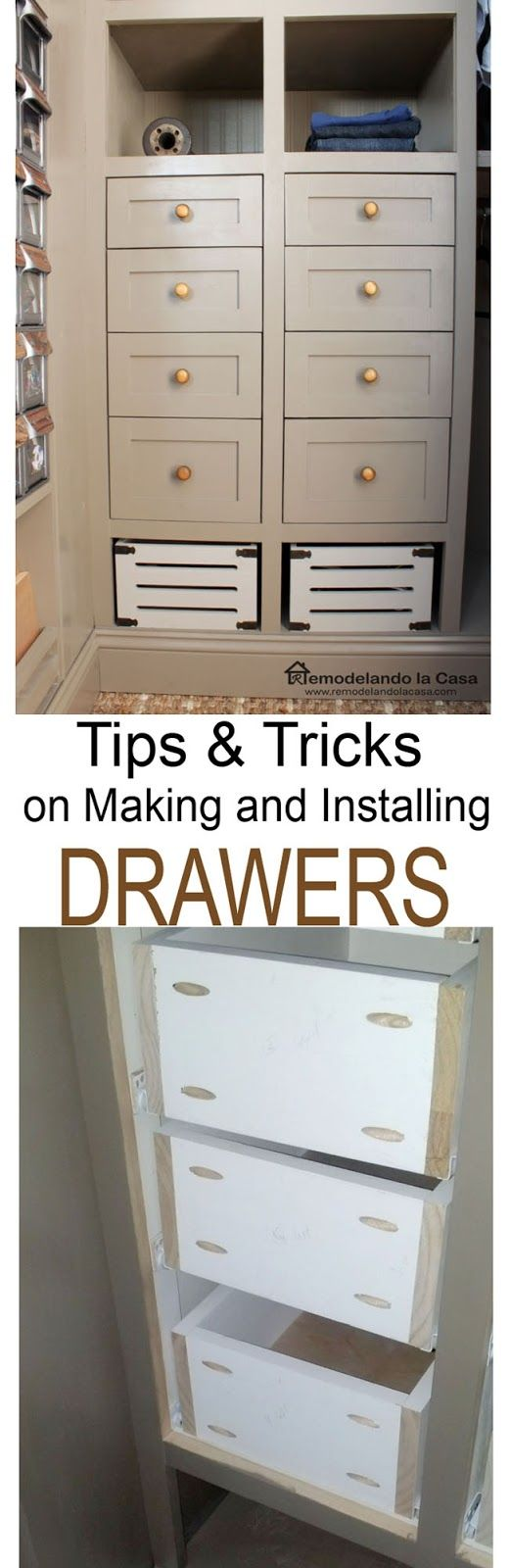 Making and installing drawers Very good info on how to build drawers and install slides!