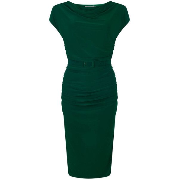 Zoe Vine Billie   Green Ruched Dress featuring polyvore, women's fashion, clothing, dresses, green, long-sleeve midi dresses, calf length dresses, green sleeve dress, cowl dress and midi dress