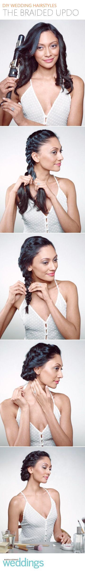 Easy steps for an elegant braided updo via @Martha Stewart Weddings Magazine