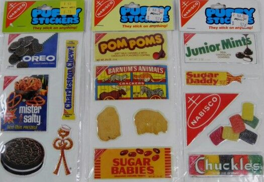 Vintage stickers • Candy Snacks Nabisco Products • 1980s Advertising