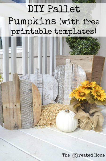 Pallet pumpkins are a simple Fall or Halloween craft. Here's how to make them, along with two free printable templates to get started!