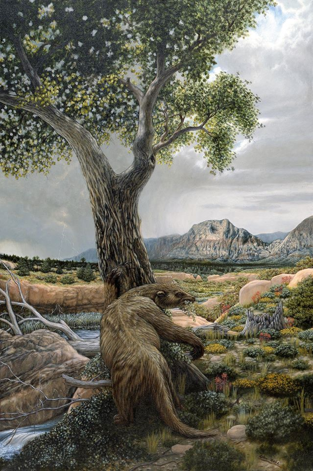 Shasta Ground Sloth in Red Rock Canyon during the Pleistocene Era by Bradley W. Giles