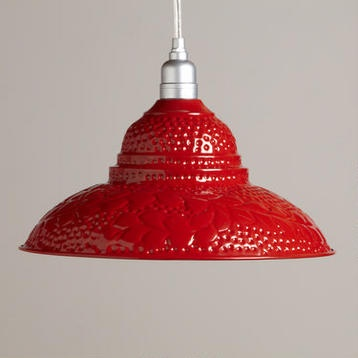 Red Punched Metal Pendant