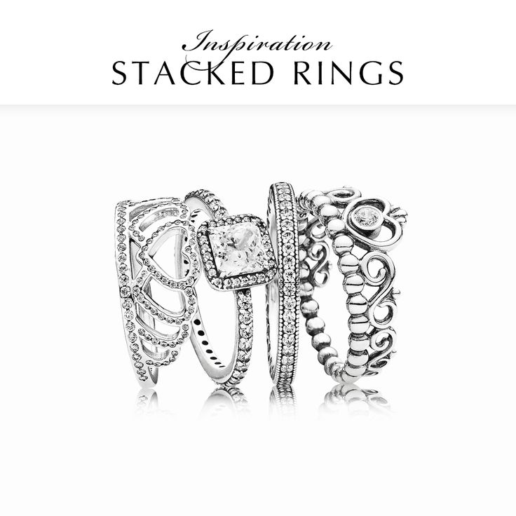 Impress with a ring stack worthy of a princess! Combine the tiara rings with timeless designs for a feminine and elegant look. Psst! As a PANDORA Club member you can save your ring sizes. Click the image to learn more. #PANDORAring