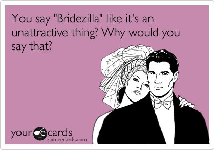 You say 'Bridezilla' like it's an unattractive thing? Why would you say that?