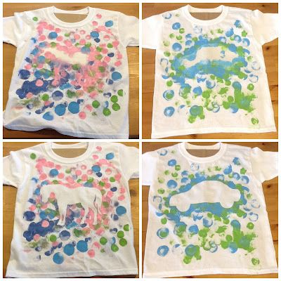 T-Shirt Painting for Kids -always a great activity - make shirt based on your theme, butterfly, princess, fairy, construction truck......