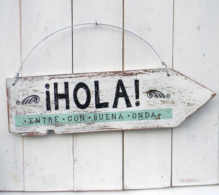 Letrero estilo vintage realizado con materiales recuperados. Encontralos en www.ondeco.com.ar