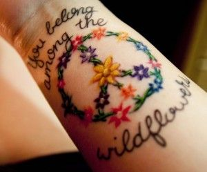 peace sign tattoos for women | peace sign tattoo designs flower | High Fashion Update
