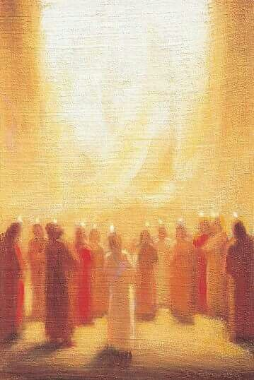 """Pentecost  (Acts 2:1-21) 2:3-4 """"And there appeared to them tongues as of fire distributing themselves, and they rested on each one of them. And they were all filled with the Holy Spirit and began to speak with other tongues, as the Spirit was giving them utterance."""" Painting by Ladislav Záborský"""