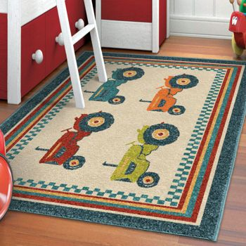 Orian Rugs Tractors Multi-Colour Area Rug love love love this for wilders room!