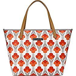 Petunia Pickle Bottom Downtown Tote Diaper Bag in Brittany Blooms, Red/Orange