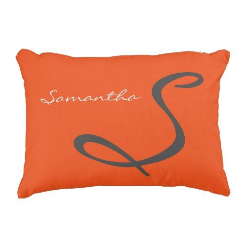elegant easy trendy stylish fashionable monogram orange ornamental pillow. >>> Look into even more by clicking the image