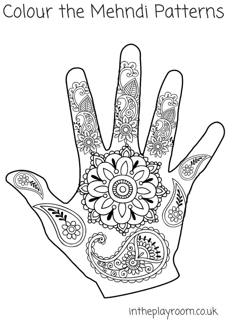 Mehndi Hand Colouring Pages Design
