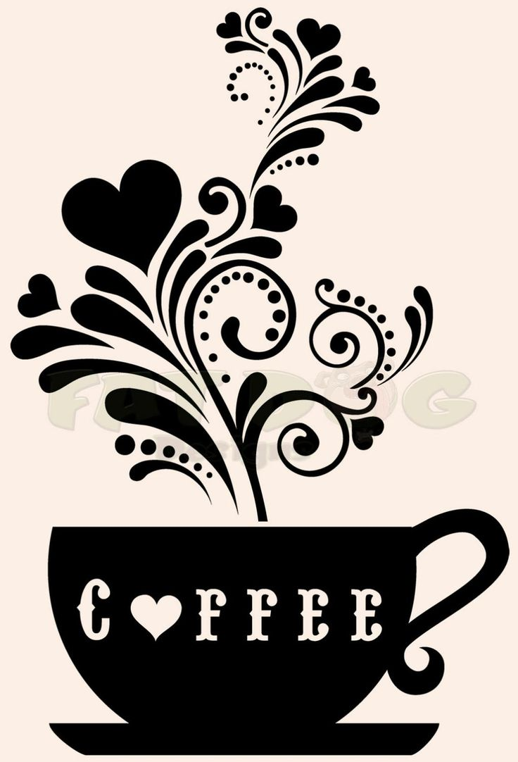 Floral Heart Coffee Cup Removable Vinyl Decal for Wall