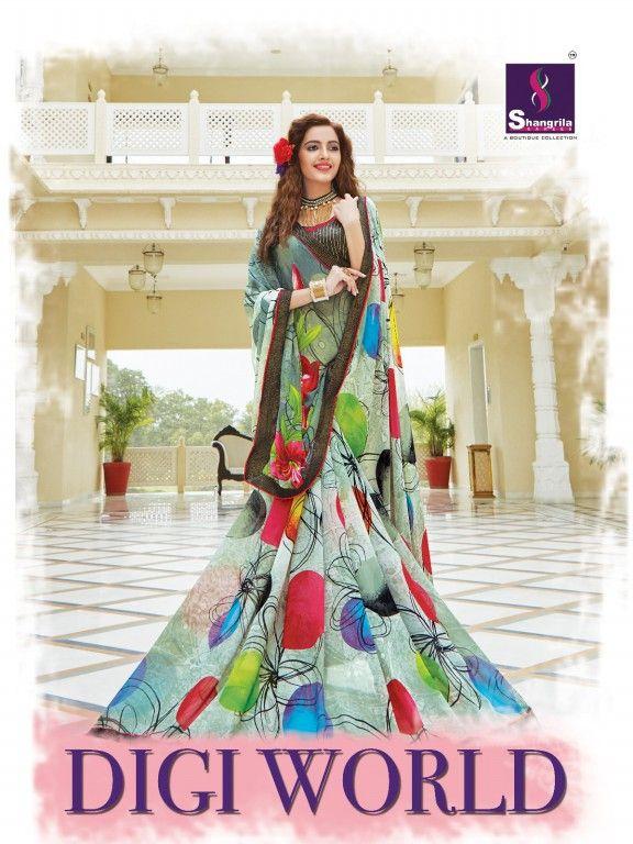 Buy Now Shangrila Digi World Wholesale Fancy Printed #EthnicSarees at #TextileDeal