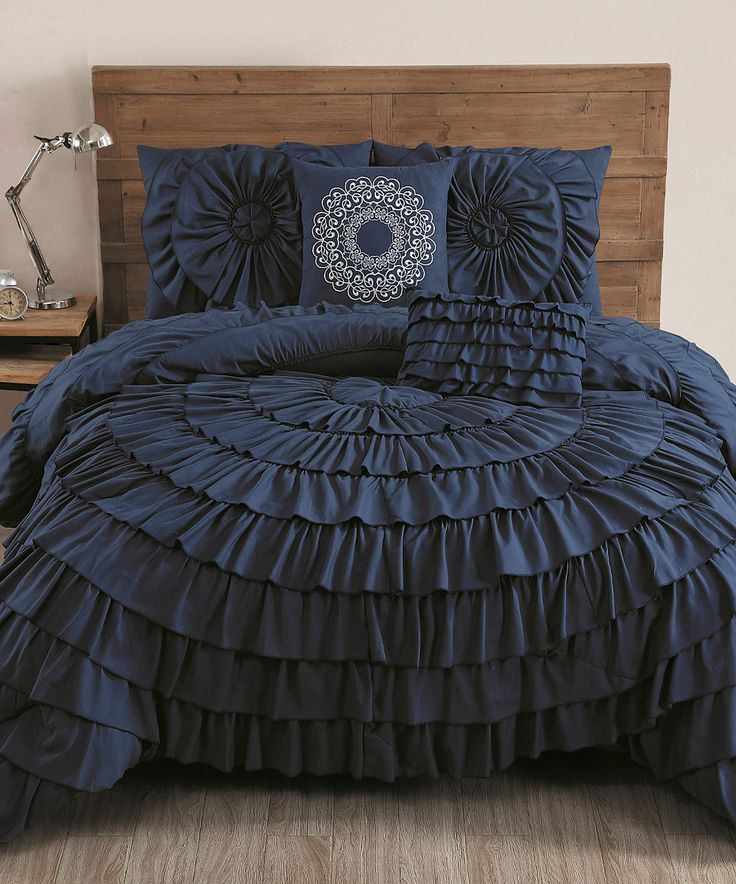 This Navy Sadie Circle-Ruffle Five-Piece Comforter Set by Geneva Home Fashions is perfect! #zulilyfinds