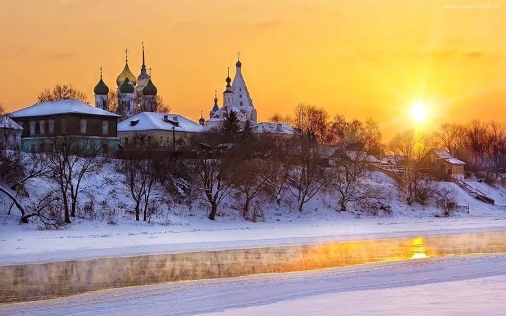 Rosja, Cerkiew, Zima, Rzeka, Promienie, Słońca