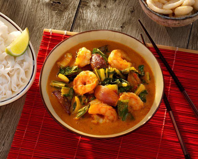 Rode Thaise Garnalen Curry met paksoi en limoen recept