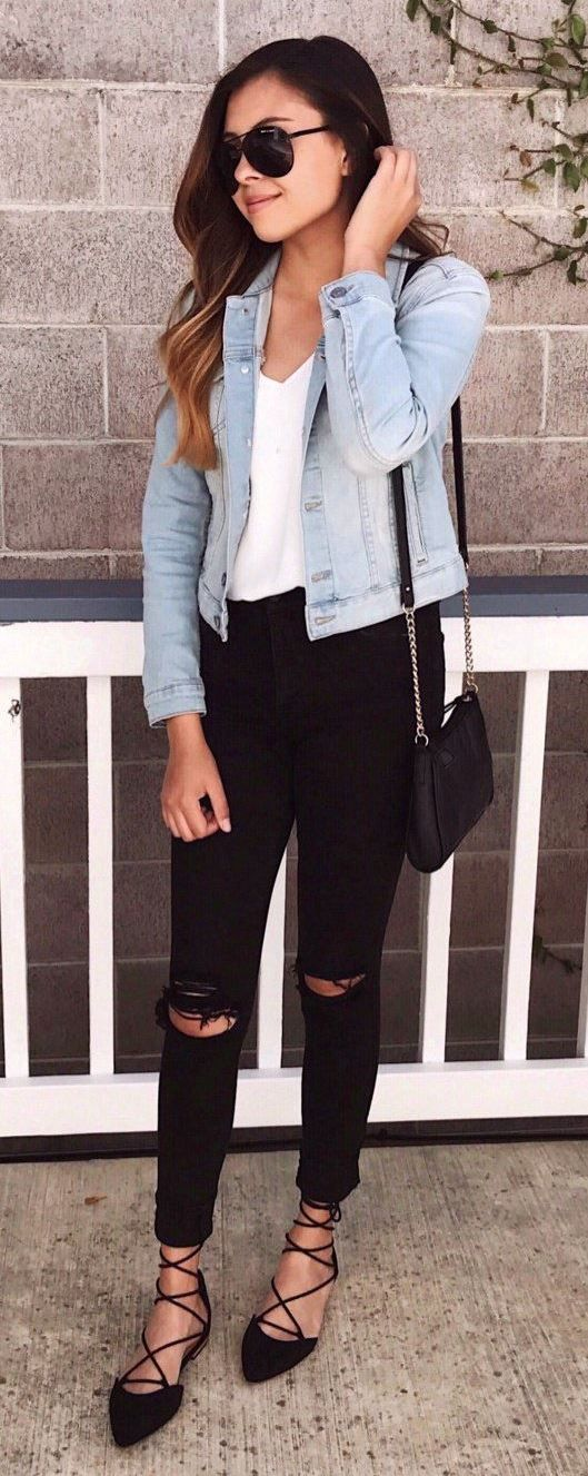 cool outfit idea / black bag + lace up shoes + denim jacket + white top + skinnies