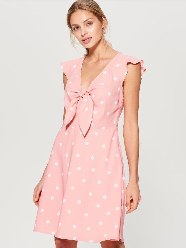 48f5b6365669 Bodkované šaty s viazaním - viacfarebná - UN187-MLC - Mohito - 3 ...