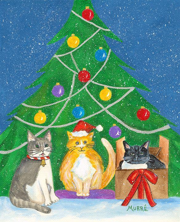 Christmas Cats Acrylic By Helene Murre Christmas Cats Christmas Ornaments Christmas