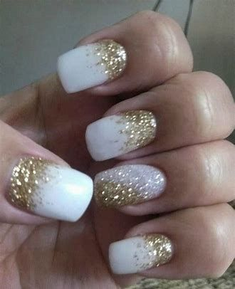 white and gold glitter