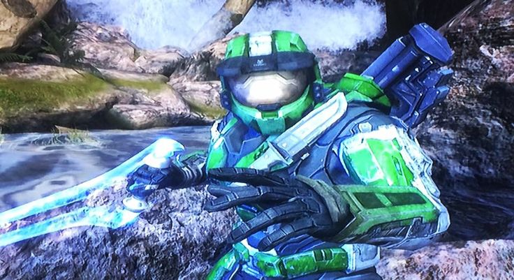 Green/White Spartan Power (In A Customized Version Of Ridgeline [In Halo: Reach On The Combat Evolved Anniversary Disk] Called Bass Pro Gulch). #xbox #xbox360 #halo #haloreach #spartan #green #white #markvi #armour #sword