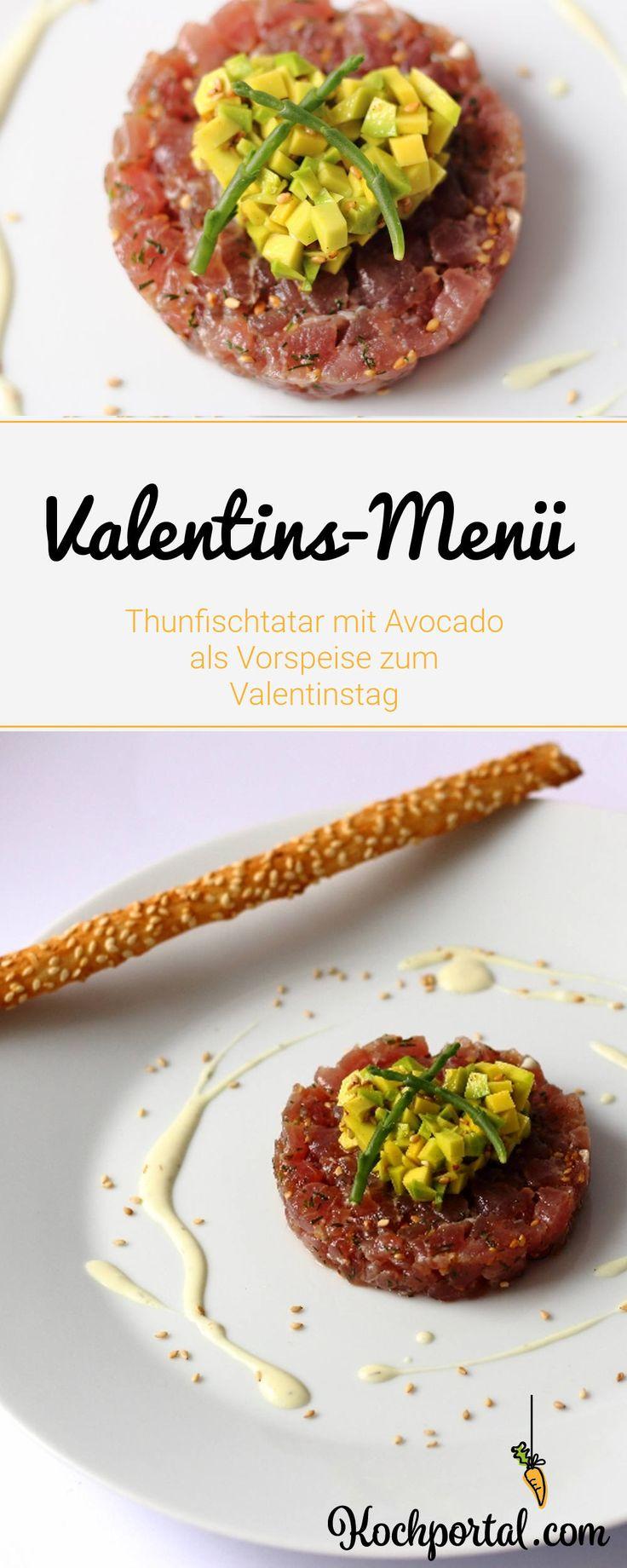 Thunfischtatar mit Avocado als Vorspeise zum Valentinstag - Valentinsmenü mit Thunfisch in der Vorspeise - Rezept für Thunfisch-Avocado-Tatar