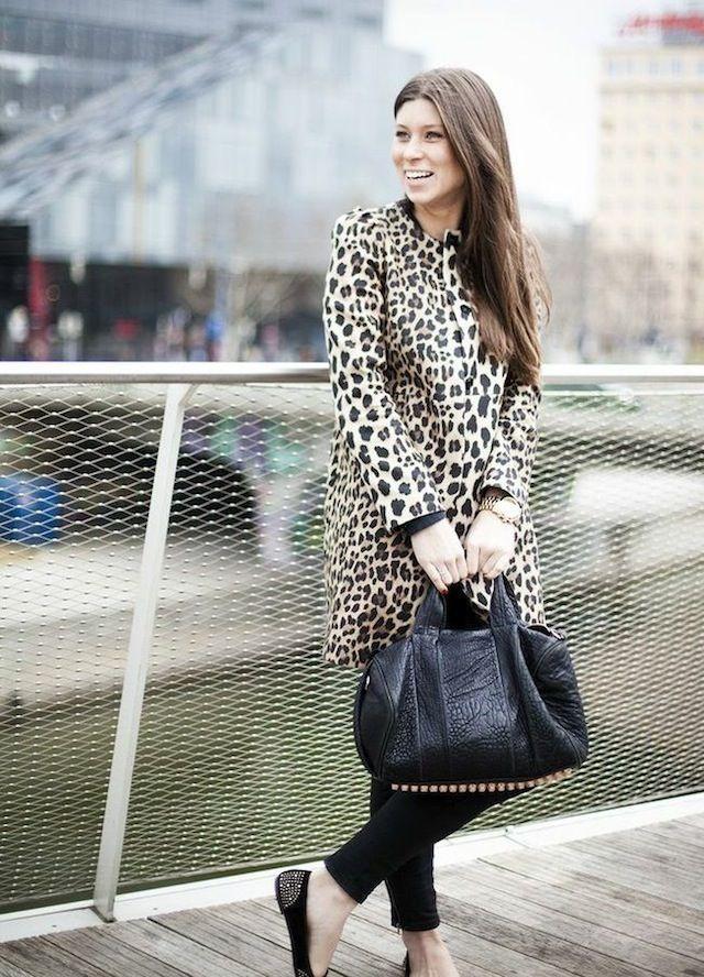 Zara leopard coat // Alexander Wang rocco bag with rosegold hardware