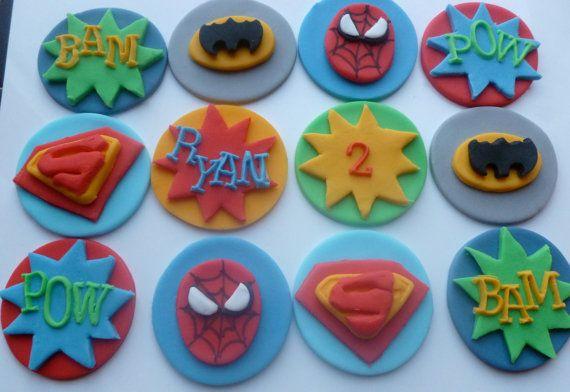 Fondant Cake Decorations Uk : Super Hero Fondant Cupcake Toppers - Batman, Spiderman ...