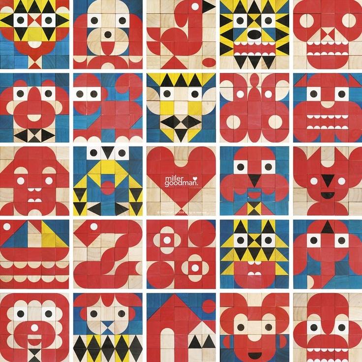 'FaceMaker' and 'ShapeMaker' by millergoodman: Goodman Shapemak, For Kids, Shapemak Wooden, Wooden Toys, Geometric Design, Shapemak Blocks, Miller Goodman, Wooden Blocks, Patterns Blocks